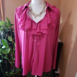 NWOT Plus Size Pink Ruffled Blouse- Avenue